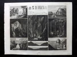Heck 1849 Antique Print. Natural Wonders - Caves, Waterfall, Rock of Gibraltar